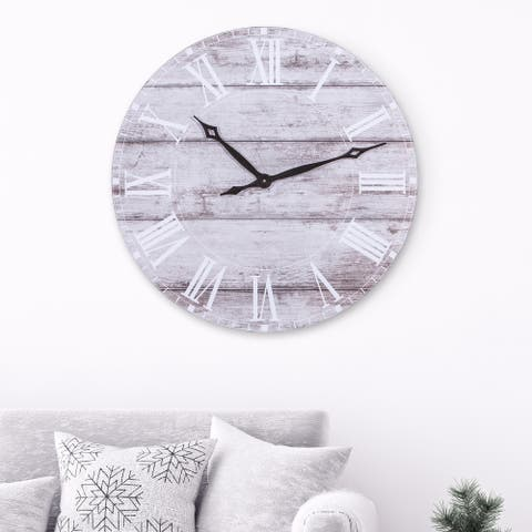 30 Inch Frameless Rustic Wood Plank Wall Clock