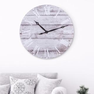 30 Inch Frameless Rustic Wood Plank Wall Clock