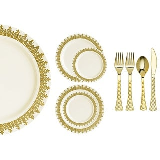 Royalty Settings Ornament Collection Plastic Cutlery and Plastic Plates for Weddings, Cream/Gold, 20, 40, 80, or 120 Settings (4 options available)