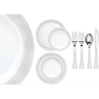 Royalty Settings Crystal Collection Plastic Cutlery and Plastic Plates for Weddings, White/Silver, 20, 40, 80, or 120 Settings (4 options available)
