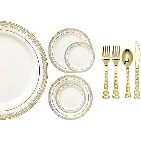 Royalty Settings Prestige Collection Plastic Cutlery and Plastic Plates for Weddings, Cream/Gold, 20, 40, 80, 120 Settings