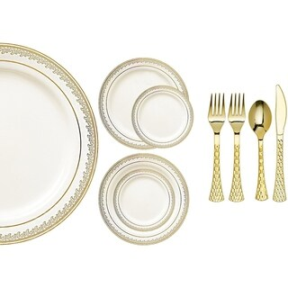 Royalty Settings Prestige Collection Plastic Cutlery and Plastic Plates for Weddings, Cream/Gold, 20, 40, 80, 120 Settings (4 options available)