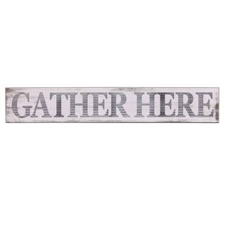 Gather Here Rustic Wood Wall Art - White