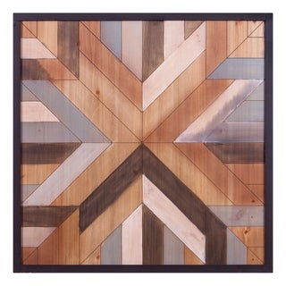 "30"" x 30"" Geometric Quilt Wood Wall Art"
