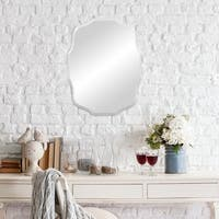 Baroque Scalloped Edge Frameless Mirror - Silver