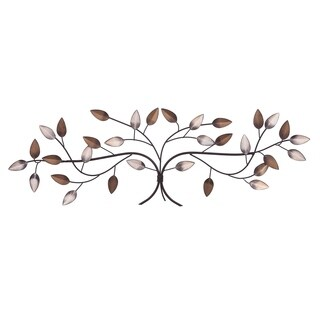 Bronze Tree Branch with Gold and Silver Leaves Metal Wall Décor