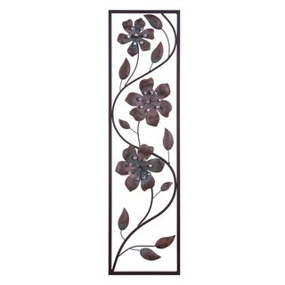 Bronze Jeweled Flower Vine Decorative Metal Wall Decor