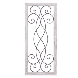 Rustic White Washed Wood and Metal Decorative Scroll Wall Decor