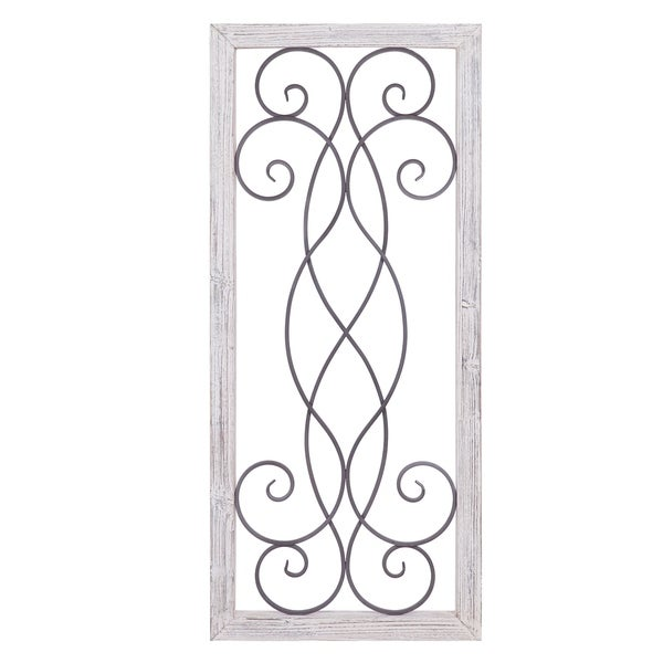 Shop Rustic White Washed Wood and Metal Decorative Scroll ...
