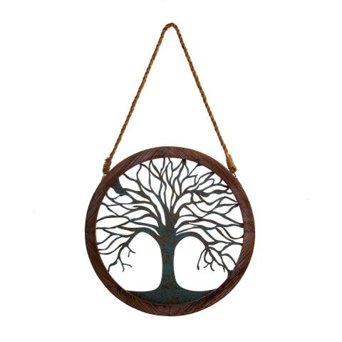 Rustic Round Wood and Patina Decorative Tree Wall Decor