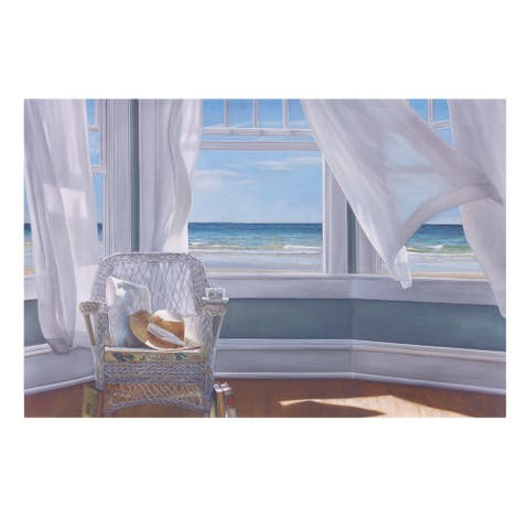 Gentle Reader Coastal Canvas Art - Blue