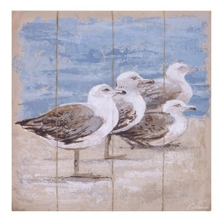 Seagulls On The Coast Canvas Art - Brown