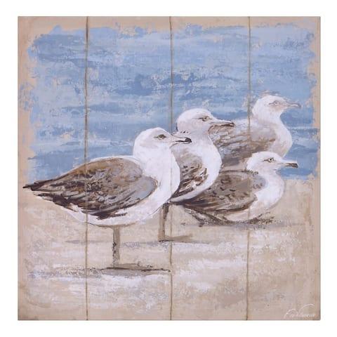 Seagulls On The Coast Canvas Art - Brown