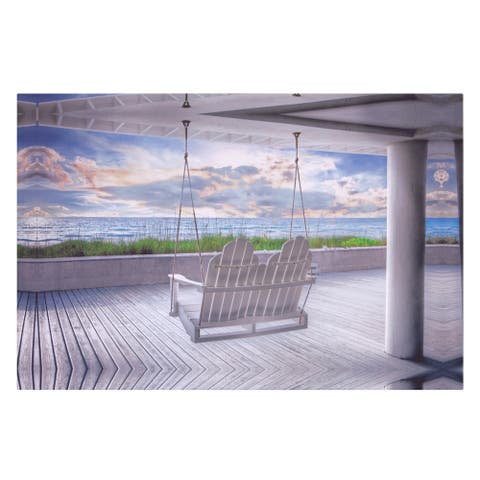 Swing at The Beach Coastal Canvas Art - White