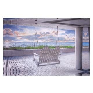 Swing At The Beach Coastal Canvas Art - White