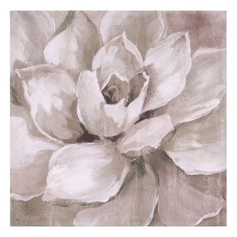 Hazy Summer Succulent Floral Canvas Art - White