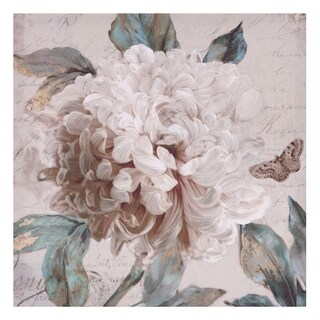 Morning Peony Floral Canvas Art - White