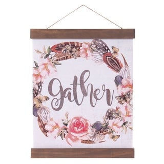 Gather Floral Hanging Canvas Print with Wood Detail - White