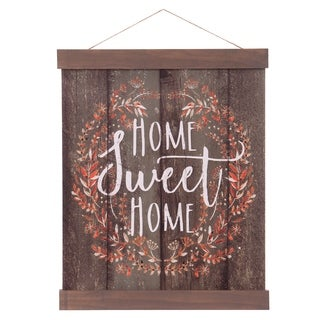 Home Sweet Home Hanging Canvas Print with Wood Detail - Brown