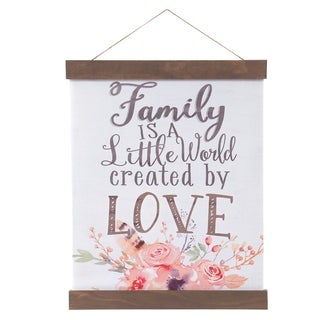 Family Created By Love Hanging Canvas Print with Wood Detail - White