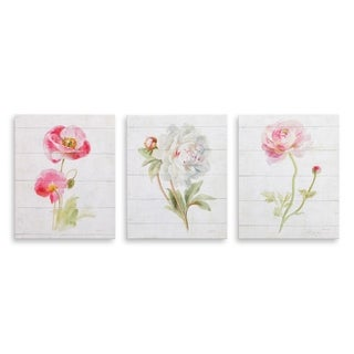 8x10 Pink June Blooms on Wood Painting, Set of 3 Canvas Art