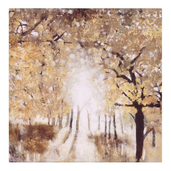 Golden Forest Landscape Canvas Art - Green