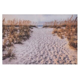 Path To The Beach Photography Canvas Art - White