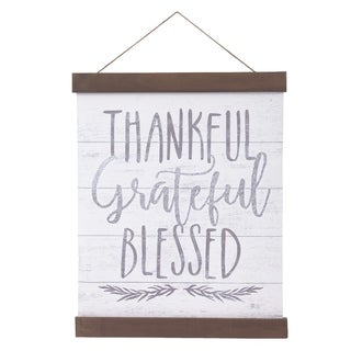 Thankful Grateful Blessed Hanging Canvas Print with Wood Detail - White