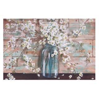 Blooms In Mason Jar Floral Canvas Art - Blue