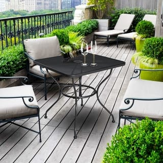 30 X Patio Dining Table Square Powder Coated Steel Frame Top Umbrella