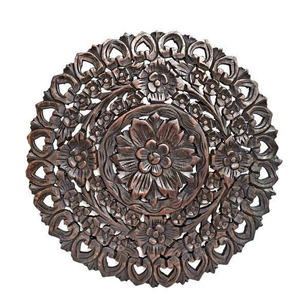 Shop Handmade Grand Flower Bouquet Hand Carved Teak Wood Wall Art ...