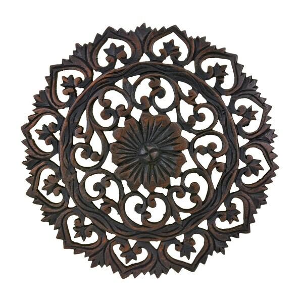 Handmade Grand Flower Bouquet Hand Carved Teak Wood Wall Art (Thailand)