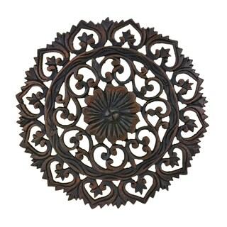 Handmade Grand Flower Bouquet Hand Carved Teak Wood Wall Art-18in (Thailand)