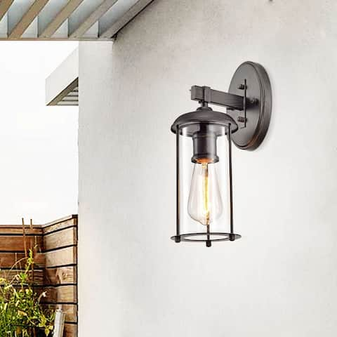 Belinda Antique Black Finish Outdoor Wall Sconce with Clear Glass Shade
