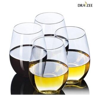 Draizee Premium Quality Stemless Wine Glasses - Set of 4 BPA FREE Crystal Clear Wine Tumbler Glasses Dishwasher Safe 16 Oz