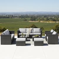 Corvus Trey 12-piece Wicker Patio Sofa Set with Glass Top