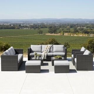 Corvus Trey 12-piece Wicker Patio Sofa Set with Glass Top