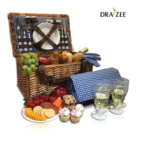 Picnic Basket Set For 4 Person Folding Table