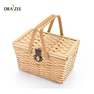 Picnic Basket Wood Chip Design Lining Strong Wooden Folding Handles Leather Strap Metal Lock