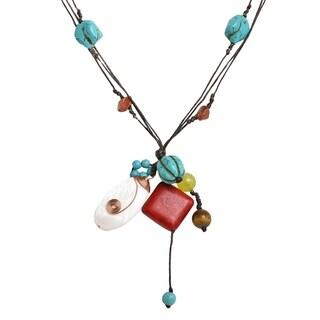 Handmade Multi-Color Mix Stones Copper Wrap Strand Necklace (Thailand)