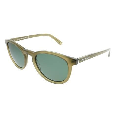 Banana Republic Round Johnny YL3 QT Unisex Transparent Olive Frame Green Lens Sunglasses