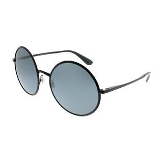 Dolce & Gabbana Round DG 2155 11066G Women Black Frame Silver Mirror Lens Sunglasses