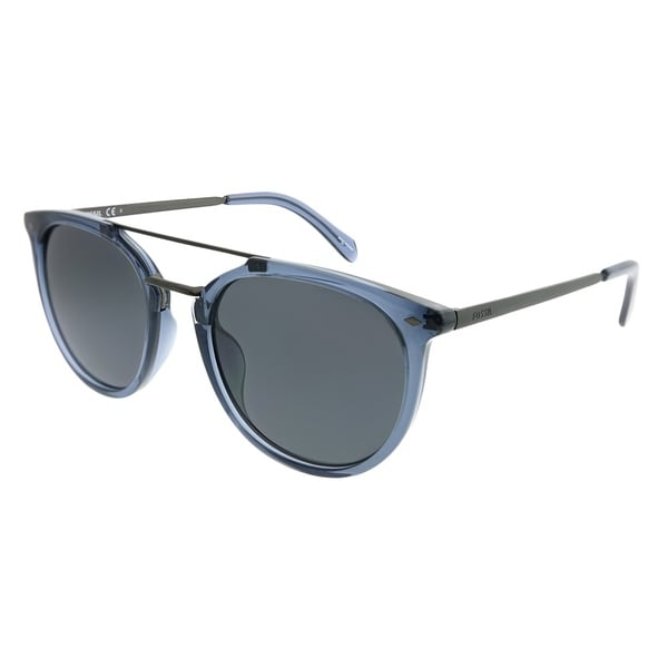 af12b1fe1c Fossil Square 3077 S B88 IR Unisex Blue Silver Frame Grey Blue Lens  Sunglasses