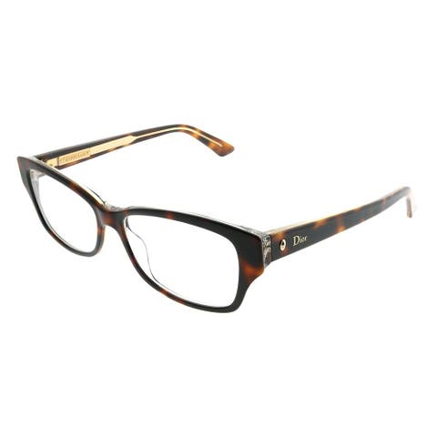 Dior Rectangle Montaigne 10 G9Q Women Havana Crystal Frame Eyeglasses
