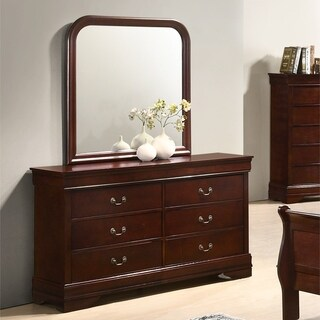 Isola Louis Philippe Style Fully Assembled Wood Dresser and Mirror, Cherry Finish
