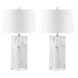 "Safavieh Lighting 29-inch Olympia Marble Table Lamp - Black / White (Set of 2) - 15"" x 15"" x 29"""