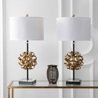 "Safavieh Lighting 30-inch Lionel Table Lamp - Black / Gold (Set of 2) - 15"" x 15"" x 30"""