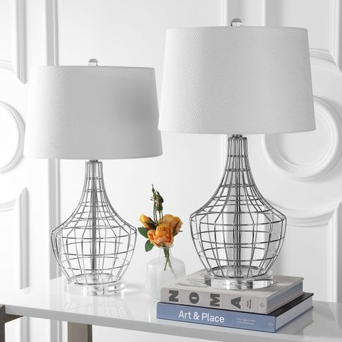"Safavieh Lighting 28-inch Olga Table Lamp - Silver / White (Set of 2) - 16"" x 16"" x 28"""