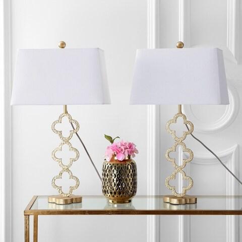 "Safavieh Lighting 29-inch Sable Trellis Table Lamp - Gold / White (Set of 2) - 16"" x 12"" x 29"""
