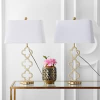 "Safavieh Lighting 29-inch Sable Trellis Table Lamp - Gold / White (Set of 2) - 16"" x 12"" x 29"""